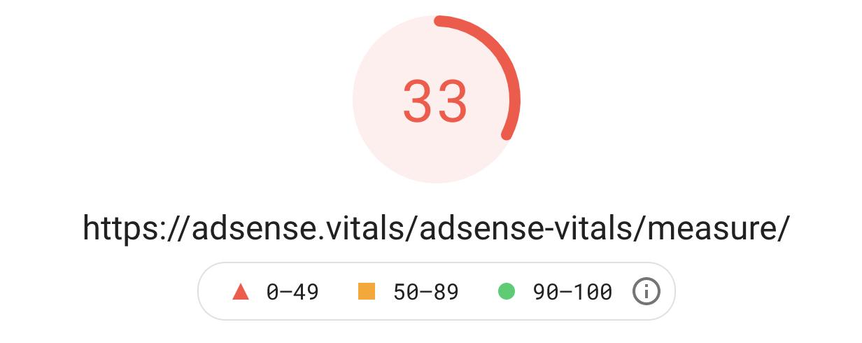 Web vitals score with AdSense below the fold