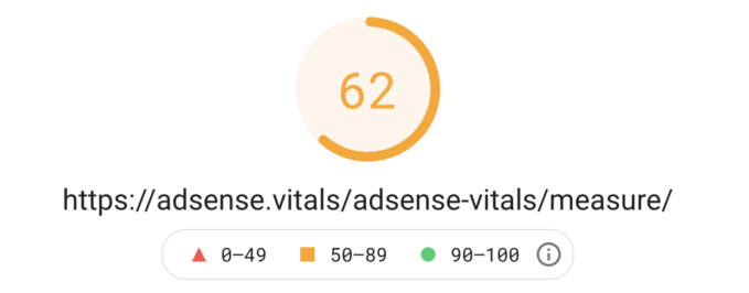 Web vitals score with AdSense script in the footer