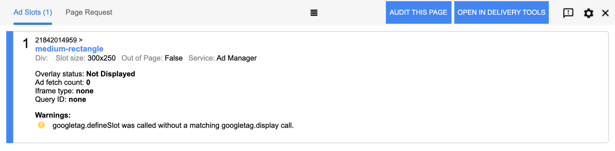warning googletag.defineSlot was called without a matching googletag.display call