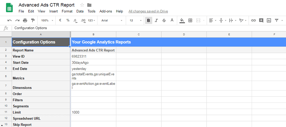 Configuration Options of a custom Google Analytics report in Google Sheets
