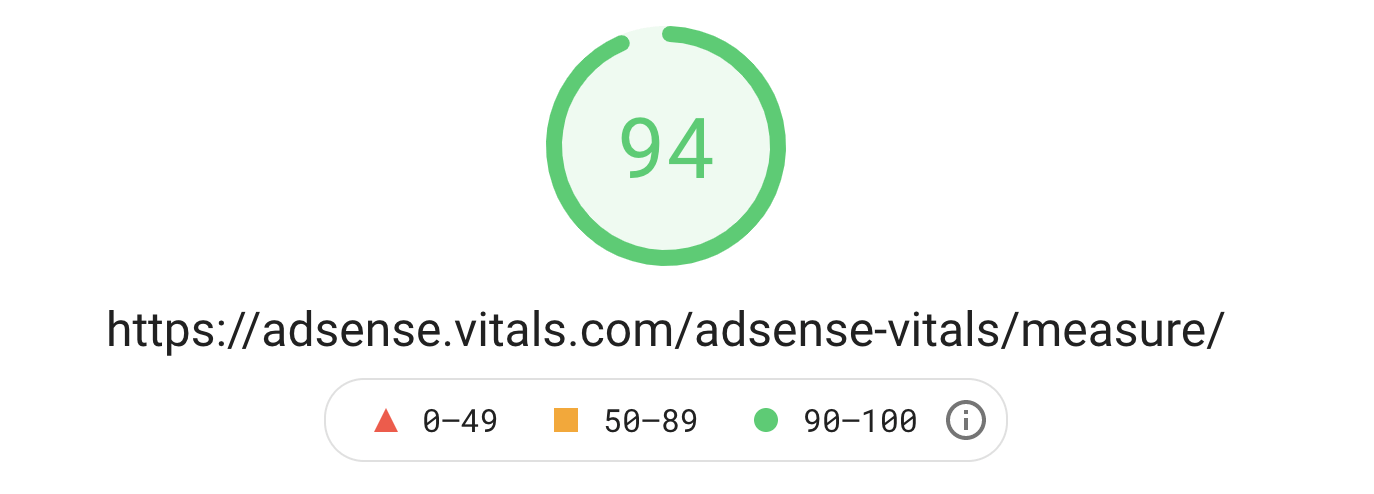 web vitals for a site with lazyloaded adsense and script optimization by Autoptimize