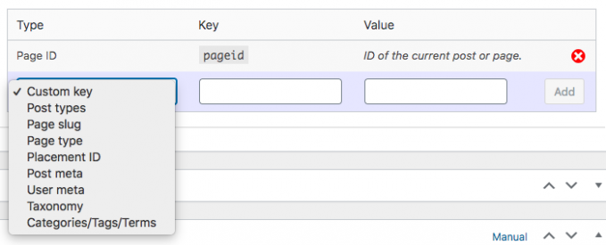 Google Ad Manager example of key-values